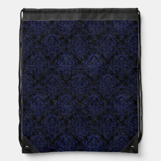 DAMASK1 BLACK MARBLE & BLUE LEATHER DRAWSTRING BAG