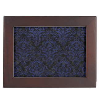 DAMASK1 BLACK MARBLE & BLUE LEATHER KEEPSAKE BOX