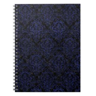 DAMASK1 BLACK MARBLE & BLUE LEATHER NOTEBOOKS