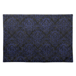 DAMASK1 BLACK MARBLE & BLUE LEATHER PLACEMAT