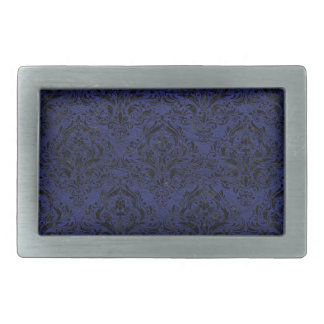 DAMASK1 BLACK MARBLE & BLUE LEATHER (R) BELT BUCKLE