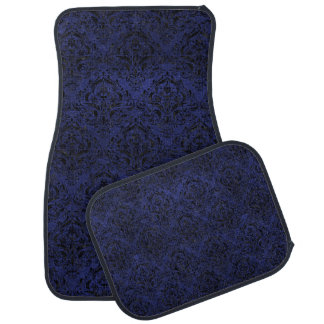 DAMASK1 BLACK MARBLE & BLUE LEATHER (R) CAR MAT