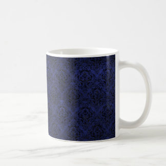 DAMASK1 BLACK MARBLE & BLUE LEATHER (R) COFFEE MUG