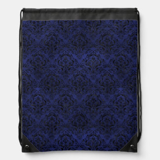 DAMASK1 BLACK MARBLE & BLUE LEATHER (R) DRAWSTRING BAG