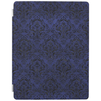 DAMASK1 BLACK MARBLE & BLUE LEATHER (R) iPad COVER