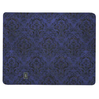 DAMASK1 BLACK MARBLE & BLUE LEATHER (R) JOURNAL