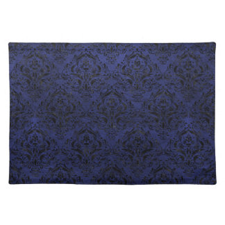 DAMASK1 BLACK MARBLE & BLUE LEATHER (R) PLACEMAT