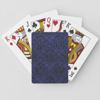 DAMASK1 BLACK MARBLE & BLUE LEATHER (R) PLAYING CARDS