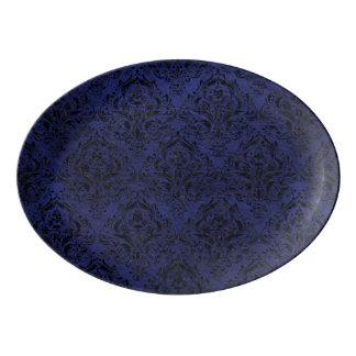 DAMASK1 BLACK MARBLE & BLUE LEATHER (R) PORCELAIN SERVING PLATTER