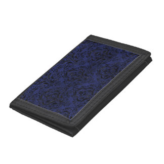 DAMASK1 BLACK MARBLE & BLUE LEATHER (R) TRIFOLD WALLETS