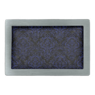 DAMASK1 BLACK MARBLE & BLUE LEATHER RECTANGULAR BELT BUCKLE