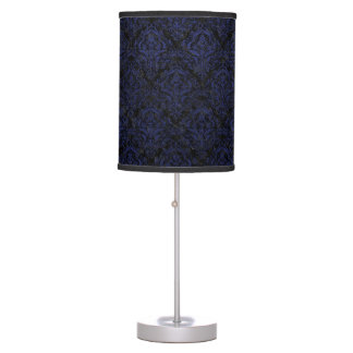 DAMASK1 BLACK MARBLE & BLUE LEATHER TABLE LAMP
