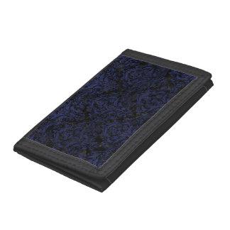 DAMASK1 BLACK MARBLE & BLUE LEATHER TRI-FOLD WALLETS