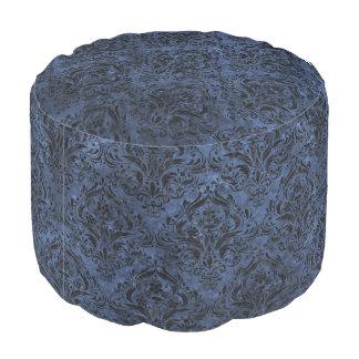 DAMASK1 BLACK MARBLE & BLUE STONE (R) POUF
