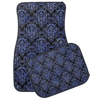DAMASK1 BLACK MARBLE & BLUE WATERCOLOR CAR MAT