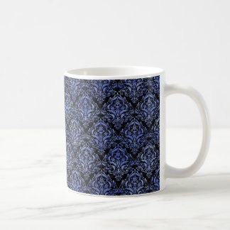 DAMASK1 BLACK MARBLE & BLUE WATERCOLOR COFFEE MUG