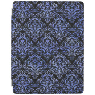 DAMASK1 BLACK MARBLE & BLUE WATERCOLOR iPad COVER