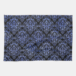 DAMASK1 BLACK MARBLE & BLUE WATERCOLOR KITCHEN TOWEL