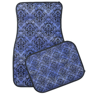 DAMASK1 BLACK MARBLE & BLUE WATERCOLOR (R) CAR MAT