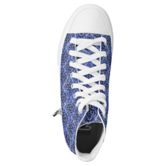 DAMASK1 BLACK MARBLE & BLUE WATERCOLOR (R) HIGH TOPS