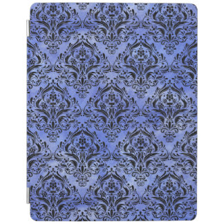 DAMASK1 BLACK MARBLE & BLUE WATERCOLOR (R) iPad COVER