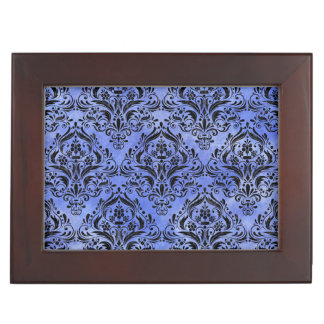 DAMASK1 BLACK MARBLE & BLUE WATERCOLOR (R) KEEPSAKE BOX