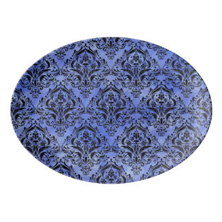 DAMASK1 BLACK MARBLE & BLUE WATERCOLOR (R) PORCELAIN SERVING PLATTER