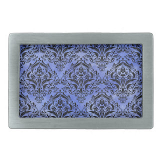 DAMASK1 BLACK MARBLE & BLUE WATERCOLOR (R) RECTANGULAR BELT BUCKLE