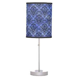 DAMASK1 BLACK MARBLE & BLUE WATERCOLOR (R) TABLE LAMP