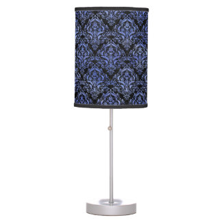 DAMASK1 BLACK MARBLE & BLUE WATERCOLOR TABLE LAMP