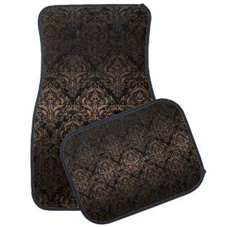 DAMASK1 BLACK MARBLE & BRONZE METAL CAR MAT