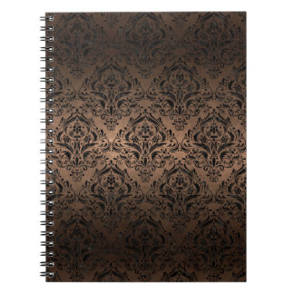 DAMASK1 BLACK MARBLE & BRONZE METAL (R) NOTEBOOKS