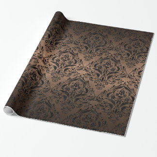 DAMASK1 BLACK MARBLE & BRONZE METAL (R) WRAPPING PAPER