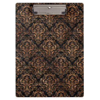 DAMASK1 BLACK MARBLE & BROWN STONE CLIPBOARD