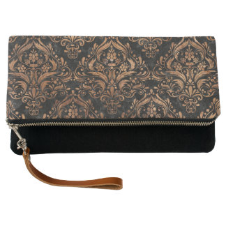 DAMASK1 BLACK MARBLE & BROWN STONE CLUTCH