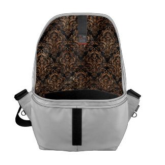 DAMASK1 BLACK MARBLE & BROWN STONE COURIER BAG