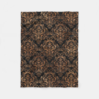 DAMASK1 BLACK MARBLE & BROWN STONE FLEECE BLANKET