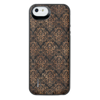 DAMASK1 BLACK MARBLE & BROWN STONE iPhone SE/5/5s BATTERY CASE