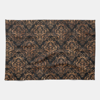 DAMASK1 BLACK MARBLE & BROWN STONE KITCHEN TOWEL