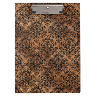 DAMASK1 BLACK MARBLE & BROWN STONE (R) CLIPBOARD