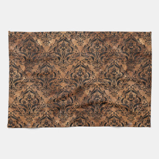DAMASK1 BLACK MARBLE & BROWN STONE (R) HAND TOWEL