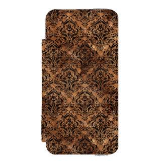 DAMASK1 BLACK MARBLE & BROWN STONE (R) INCIPIO WATSON™ iPhone 5 WALLET CASE