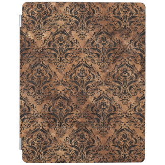 DAMASK1 BLACK MARBLE & BROWN STONE (R) iPad COVER