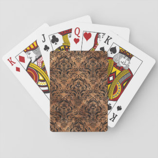 DAMASK1 BLACK MARBLE & BROWN STONE (R) PLAYING CARDS