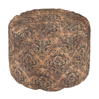 DAMASK1 BLACK MARBLE & BROWN STONE (R) POUF