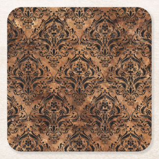 DAMASK1 BLACK MARBLE & BROWN STONE (R) SQUARE PAPER COASTER