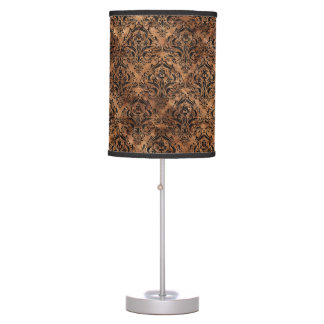 DAMASK1 BLACK MARBLE & BROWN STONE (R) TABLE LAMP