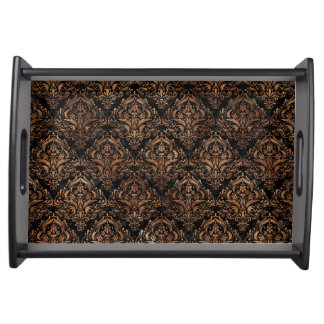 DAMASK1 BLACK MARBLE & BROWN STONE SERVING TRAY