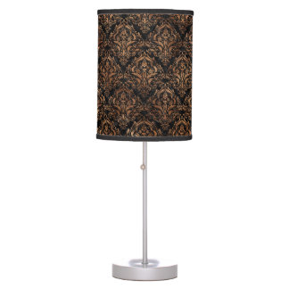 DAMASK1 BLACK MARBLE & BROWN STONE TABLE LAMP