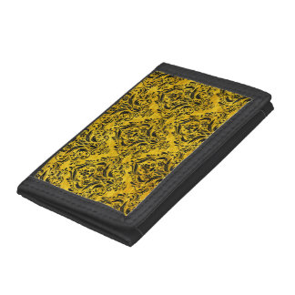DAMASK1 BLACK MARBLE & YELLOW MARBLE (R) TRIFOLD WALLET